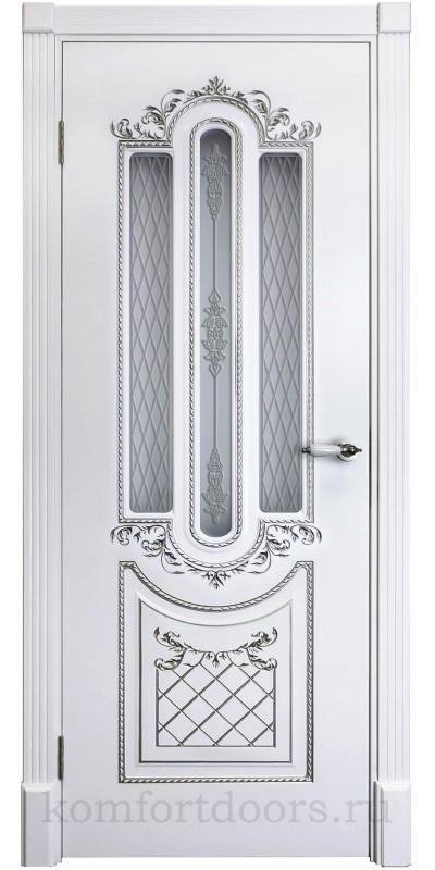 Карина 4  эмаль белая + патина серебро ДО